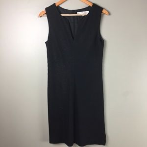 Trina Turk black dress subtle sparkle v neck midi